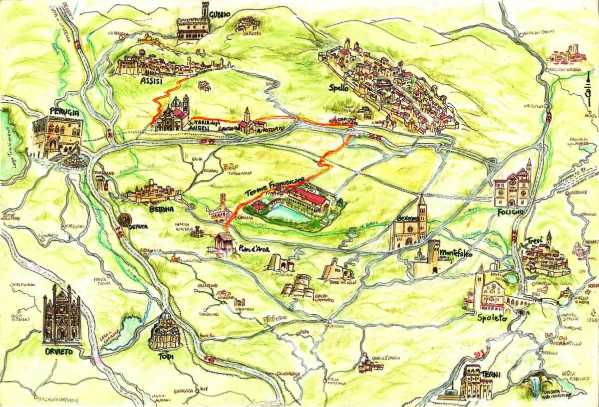 Umbria Cartina Turistica.Umbria Terra Di Storia E Spiritualita Terme Francescane